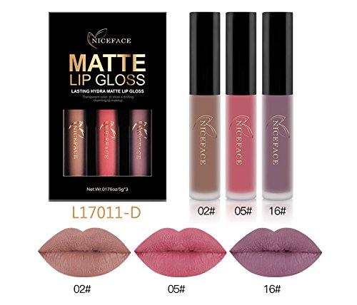 CASA SHOP 3Pcs/Lot Matte Long-lasting Lipstick Liquid Set B
