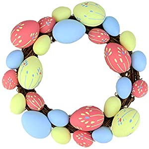 "Northlight 10"" Pink, Yellow and Blue Floral Stem Easter Egg Spring Grapevine Wreath 19"