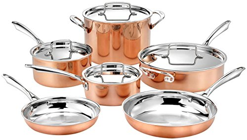 "Cuisinart 10pc Tri-Ply Cooper Cookware Set: 1qt with Cover,2.5qt with Cover,4qr Saute with Cover and Helper Hander, 8"" and 10"" Skillets, 8 Quart Stock Pot, 10 Piece Set, Copper"