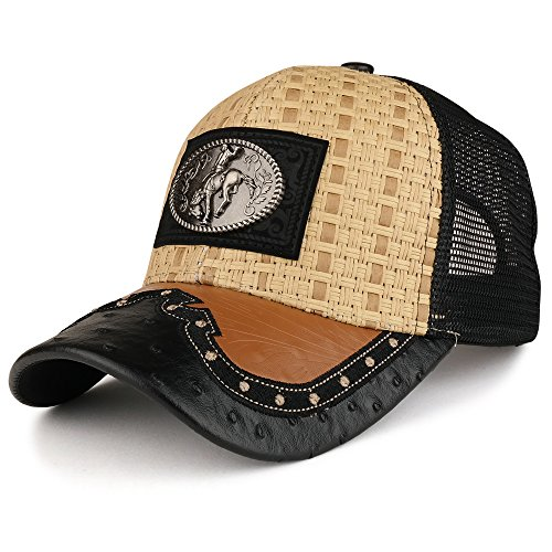 Trendy Apparel Shop Straw Design Metallic Rodeo Cowboy Horse Metal Logo Trucker Mesh Baseball Cap - Tan Black