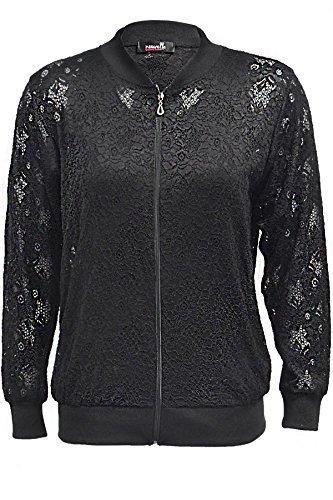 Nouvelle Plus Size Floral Lace Bomber Jacket Black