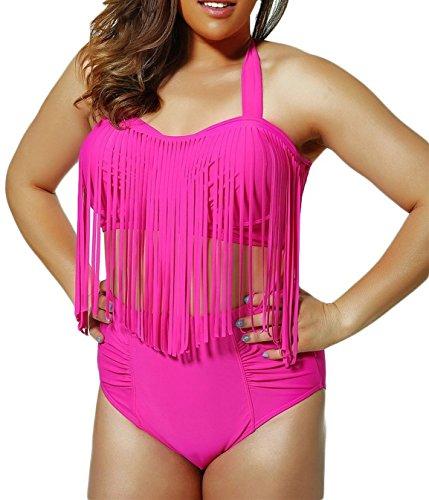 American Trends Women's Vintage Plus Size High Waist Fringe Bikini Retro Swimwear D-Rose US Size 14-16(Size