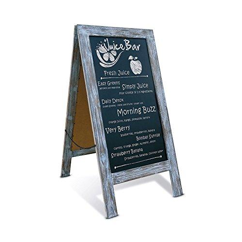 Rustic Vintage Blue A-Frame Chalkboard / Sidewalk Chalkboard Sign / Large 40'' x 20'' Sturdy Sandwich Board / A Frame Restaurant Message Board / Freestanding Wooden Menu Display Sign by HBCY Creations