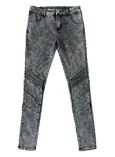 Bienzoe Girl's Cotton Stretch Dark Blue Snow Wash Dart Knee Denim Jeans 18 by Bienzoe