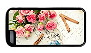 Funny iphone cases Cheap price Pink roses and a letter TPU Black for Apple iPhone 5C
