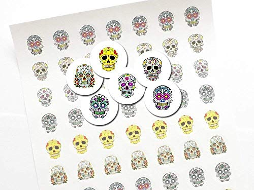 Day of the Dead 1 inch Stickers Sugar Skulls Dia De Los Muertos envelope seals labels