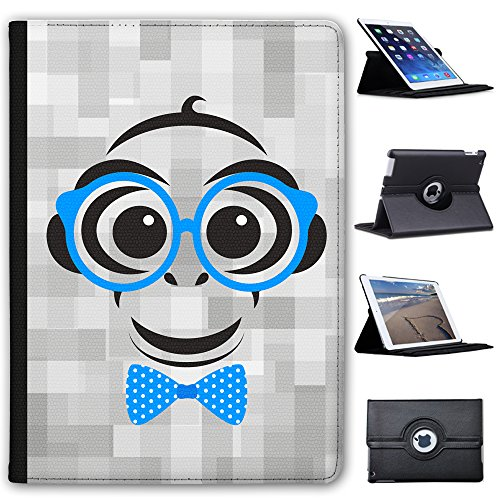 Leather Case for Apple iPad Air (1st Generation) - Hipster Monkey Polka Dot Bow Tie
