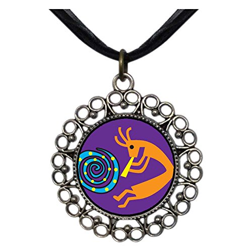 GiftJewelryShop Ancient Style Silver Plate Kokopelli Dance Floral Hoop Charm Pendant Necklace