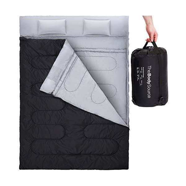 Active Era Double Sleeping Bag With 2 Pillows Queen Size Converts Into 2 Singles 3 Seasons 32 F Perfect For Camping Hiking Outdoors Travel Water Resistant And Lightweight