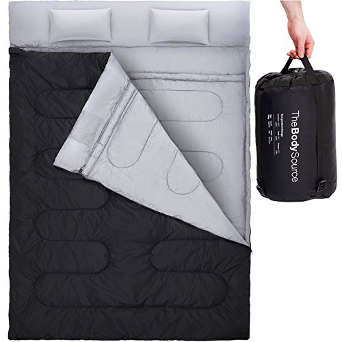Active Era Double Sleeping bag with 2 Pillows – Queen Size – Converts into 2 Singles | 3 Seasons - 32 °F Perfect for Camping, Hiking, Outdoors & Travel | Water Resistant and Lightweight by Active Era