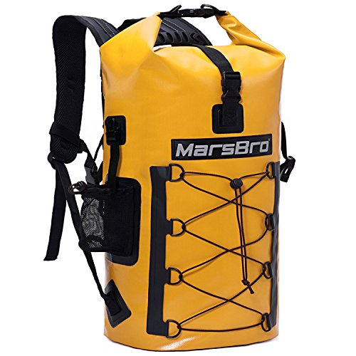 MarsBro Waterproof Backpack Dry Bag 1000D PVC 35L/50L HF Welded Seams Roll-Top Closure for Kayaking, Canoeing, Surfing, River Tracing, Sailing with Waterproof Phone Pouch Yellow 50L