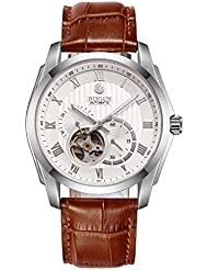 Binlun Mens High-End Ruby Mechanic Movement Watches Brown Leather Band Watch for Men