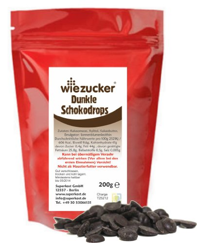 200g Wiezucker Dunkle Schoko-Drops Xylitol Xylit Schokolade NEU!