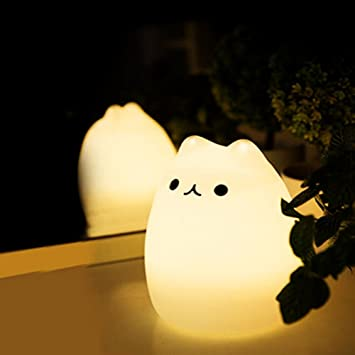 Missley Colorful Soft Silicon Cat Night Light LED Charging Nightlight Color  changing automatic cartoon cat light c013a0d7fc