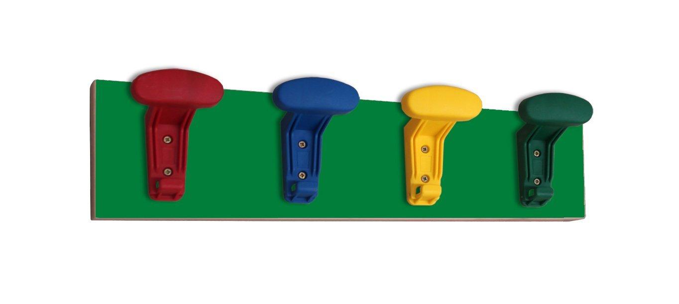 Mobeduc 600646 4H21-Porte-Manteau pour enfants en ligne avec 4 perchoirs en couleurs en Bois Hêtre vert foncé 50 x
