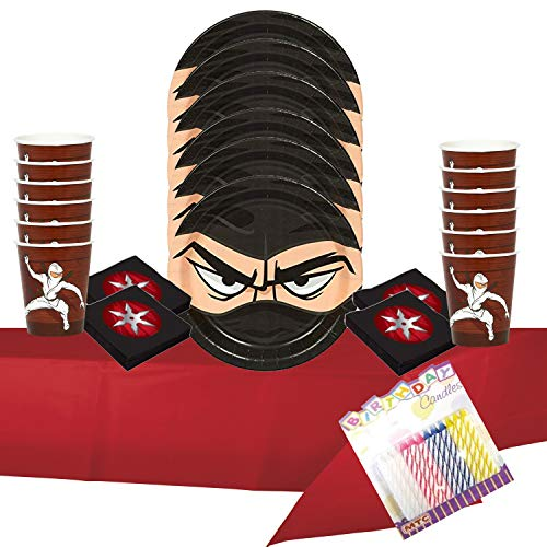 Ninja Warrior Party Supplies Pack Serves 16: Dessert Plates Beverage Napkins Cups and Table Cover with Birthday Candles (Bundle for 16)]()