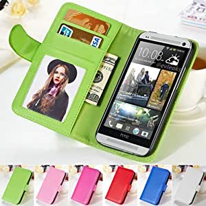 Luxury Wallet Flip Cover Soft PU Leather Case For HTC One M7 Book Style Phone Bags With Stand 2 Card Holder + Photo Frame BOB --- Color:pink phone case