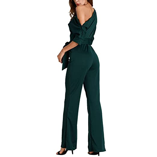 7506f29660 Amazon.com  Women s Off One Shoulder Wide Leg High Waisted Long Pants  Jumpsuits Romper with Belt  Clothing
