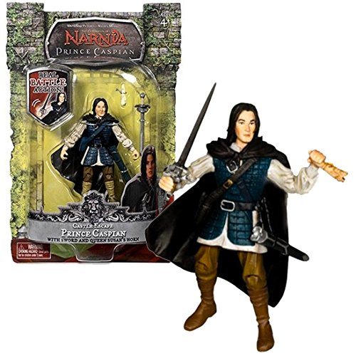 Jakks Pacific Year 2007 Disney Movie Series The Chronicles of Narnia - Prince Caspian 4 Inch Tall Action Figure - Castle Escape PRINCE CASPIAN with Removable Cape, Sword, Sheath & Queen Susan's Horn ()