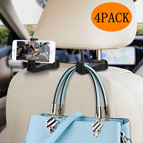Car Headrest Hook with Phone Holder Normei 2 in 1 Auto Vehicle Back Seat Headrest Hanger Hooks for Purse Luggage Bags Cloth Grocery (4 Pack)