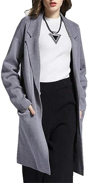 Mujer Largo Blazer Cómodo Moda Blazer Otoño Manga Larga De Solapa ...