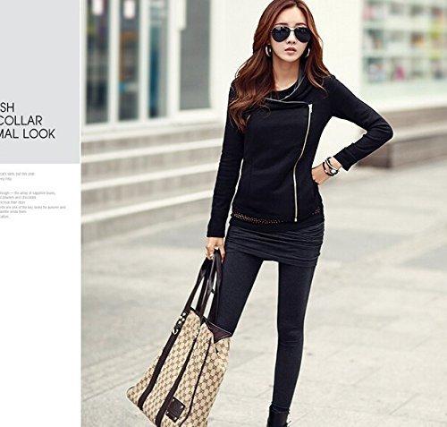 Blazer Automne Cardigan Revers Veste Manches Gilet Femme Zipper Jacket Noir Minetom Col Longues w0C5znq