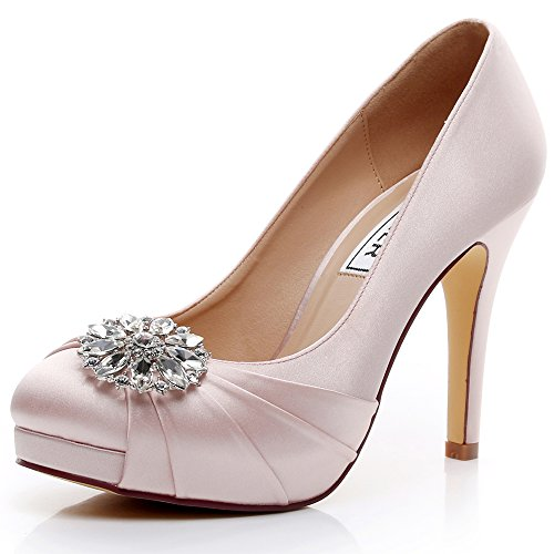 Luxveer Scarpe Donna Tacco Alto Scarpe Da Sposa In Raso Con Strass Scarpe  Da Sposa Abito fe53a141ae6