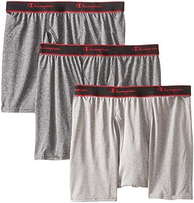 Champion Men's 3-Pack Active Performance Short Leg Boxer Briefs