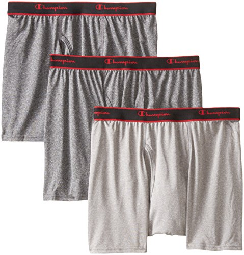 Champion Men's 3 Pack Active Performance Short Leg Boxer Briefs, Black/Grey/Black, Medium (Champion Active Boxer Briefs compare prices)