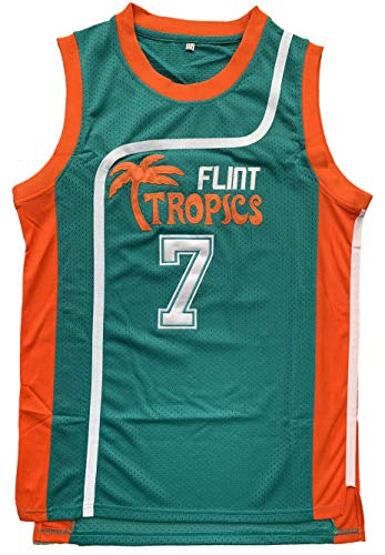 - Flint Tropics Jackie Moon #33 Coffee Black #7 Semi Pro Basketball Jersey Green White (7 Green, Large)