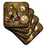 3dRose Heike Köhnen Design Steampunk - Cute steampunk horse clocks and gears - set of 8 Coasters - Soft (cst_293115_2)