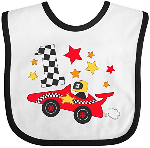 Inktastic - Happy 1st Birthday red racing car Baby Bib White/Black 29fd4