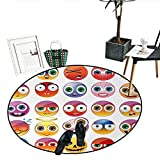 Emoji Bed Set Walmart Emoji Round Rugs for Bedroom Rainbow Colored Cartoon Like Smiley Face Expressions Sad Happy Angry Fierce Art Print Living Dinning Room and Bedroom Rugs (39