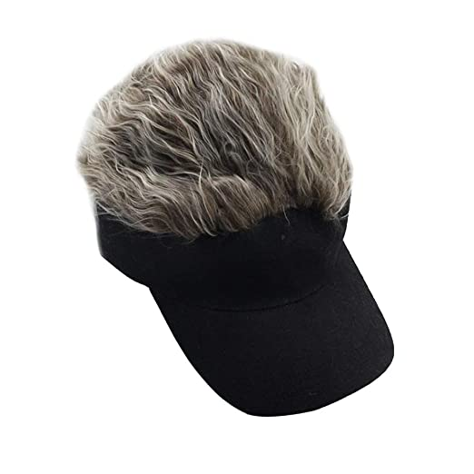 05b1eafc Amazon.com: Flair Hair Sun Visor Cap with Fake Hair Wig Novelty Baseball Cap  Funny Golf Cap(56-60cm) Brown: Clothing