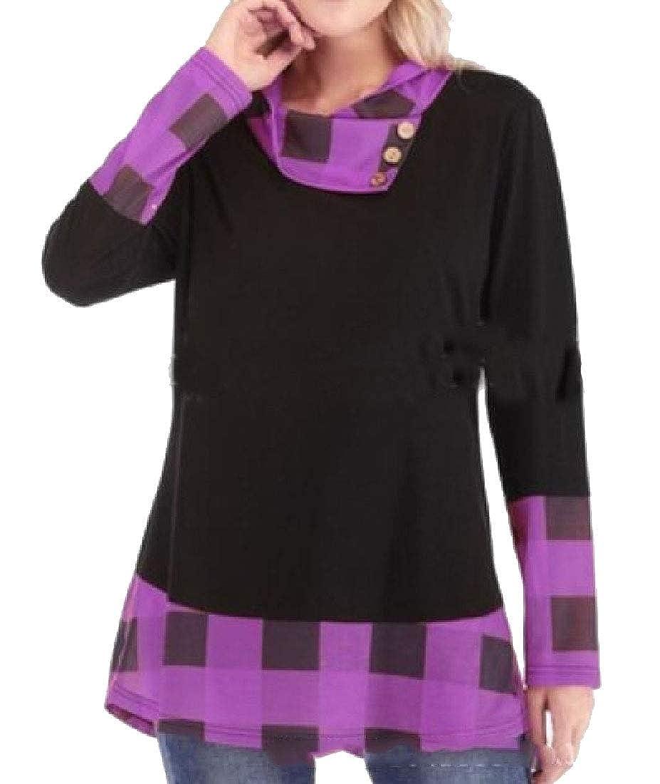 Yayu Womens Fashion Long Sleeve Palid Splice T-Shirt Top