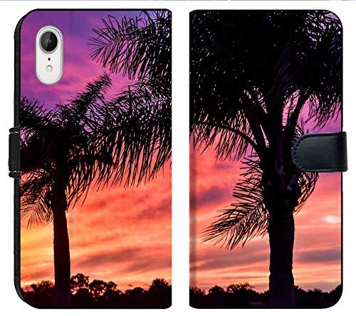 Apple iPhone XR Flip Fabric Wallet Case Image of Palm Tree Sky Tropical Sunset Landscape Nature Sunrise Background Paradise Sun Island Vacation Travel su