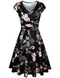 Kimmery Summer Dresses for Women Ladies Fit and Flare Dress for Work Empire Waist Short Sleeve Dressy Clothing Slim Fit Ruched Details Beach Vacation Sexy Wrap Dress Black with Flower Print Medium