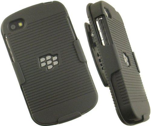 BLACK RUBBERIZED HARD CASE + BELT CLIP HOLSTER STAND FOR BLACKBERRY Q10 PHONE,