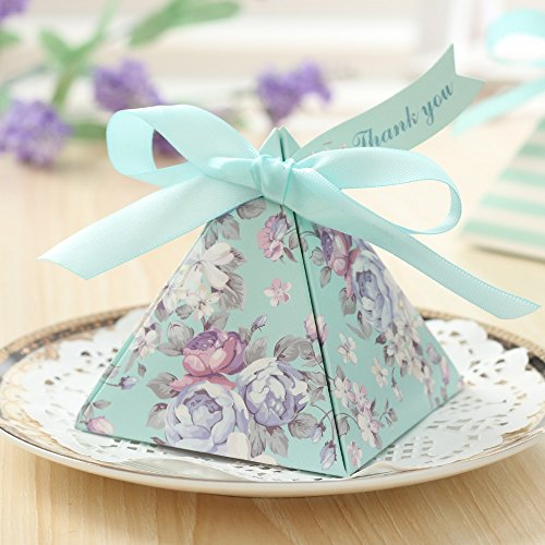 Saasiiyo 20 Pieces European Triangular Pyramid Light Blue Floral Wedding Favors Candy Boxes Present Gifts Box