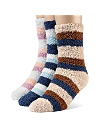 ChanPell Women's Assorted Striped Fuzzy Crew Plush Socks - 3 Pairs, Small
