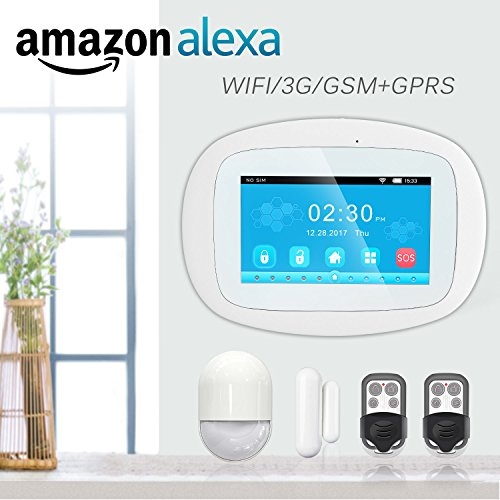 BIBENE 3G WIFI Home Security Alarm System with 4.3'' Touch Screen Keypad APP Control PIR Motion Sensor Alzheimer Door Alarm No Monthly Fee DIY Alexa Alarm System Expandable 792 Sensors for Home Office