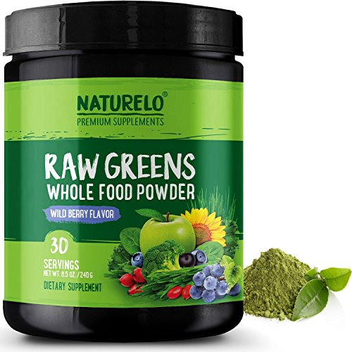 Nutritional Supplements Boost (NATURELO Raw Greens Superfood Powder - Best Supplement to Boost Energy, Detox, Enhance Health - Organic Spirulina & Wheat Grass - Whole Food Vitamins from Fruit & Vegetable Extracts - 30 Servings)