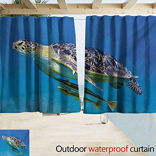 Lcxzjgk Turtle Home Patio Outdoor Curtain Cute Angry Looking Sea Turtle Swimming with Remora Fishes Fauna Under The Sea Insulated with Grommet Curtains for Bedroom W63 xL72 Blue Yellow Brown