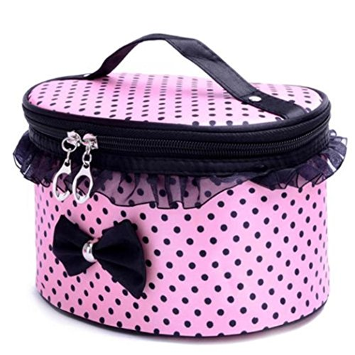 Hatop Portable Travel Toiletry Makeup Cosmetic Bag Organizer Holder Handbag (Pink)