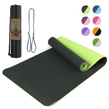 Lixada Colchonetas Yoga Antideslizante Ligero TPE Material Medioambiental para Pilates Caliente Yoga Fitness 183 x 61cm