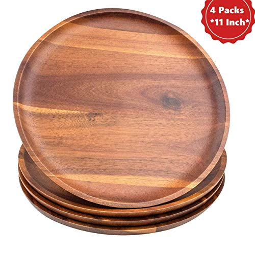 AIDEA Dinner Plates Set [11 Inch], Wooden Dinner Plates 4 Packs 100% Handcrafted,Easy Cleaning & Lightweight for Dishes Snack, Dessert, Charger Plates for Home Decor like Scented Candles (Candle Charger Plate)