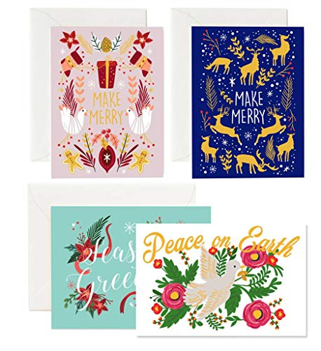 36 Pack Christmas Greeting Cards - 4 Assorted Winter Designs for Holiday and Seasons Greetings, Envelopes Included (Business Christmas Cards Personalised For)