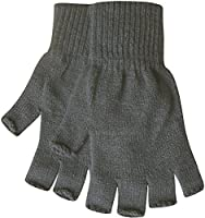 Teddyt's Men's Warm Thermal Knit Fingerless Winter Gloves One Size Grey