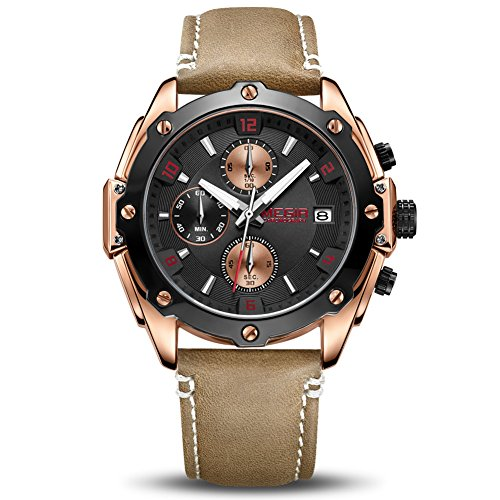 MEGIR Men's Analogue Army Military Chronograph Luminous Quartz Watch with Fashion Brown Leather Strap for Sport & Business Work ML2074GREBN-1N8 ()