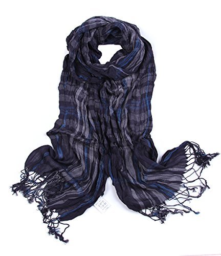 Leonal Men Striped Scarf Cotton Fabric Plaid Scarves